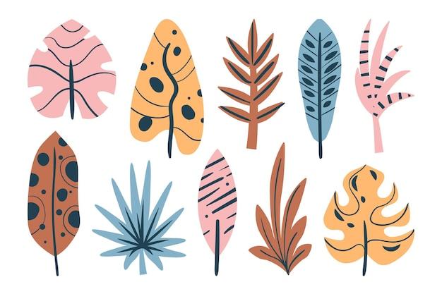 Coleção abstrata de folhas tropicais