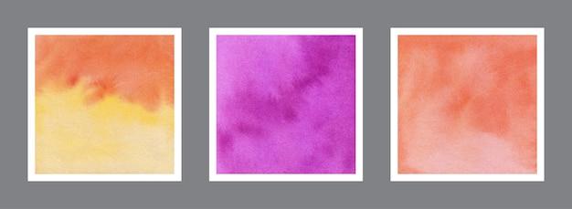 Coleção abstrata de fundo aquarela amarelo, violeta e laranja