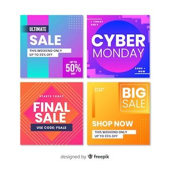 Coleção abstrata de postagens do instagram de venda