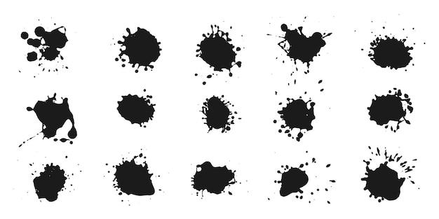 Coleção abstrata de respingos de tinta preta