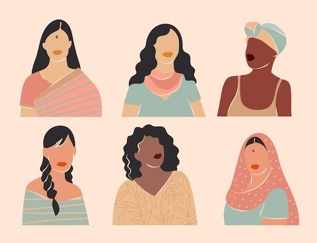 Coleção abstrata de retratos femininos desenhados à mão