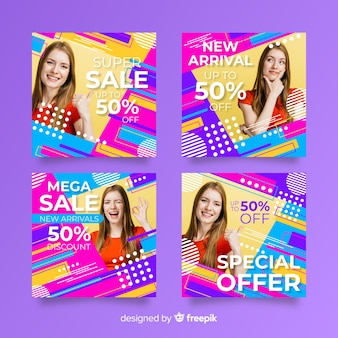 Coleção abstrata do instagram de banners de vendas