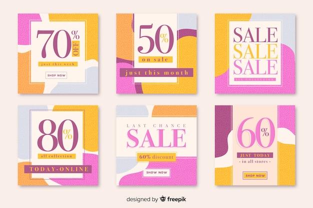 Coleção abstrata geométrica do post do instagram da venda