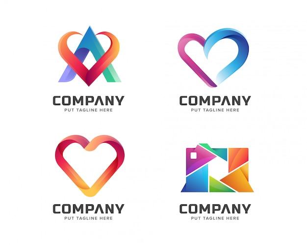 Coleção abstrata logotipo colorido