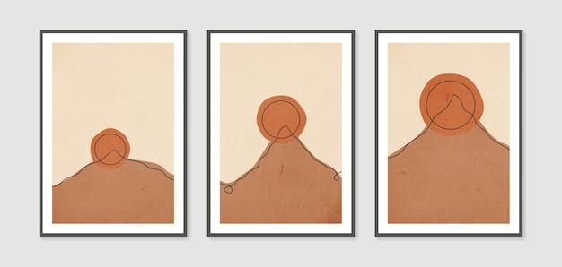 Coleção abstrata minimalista moderna montanha estética contemporânea fundos paisagens