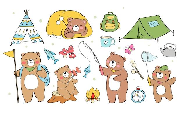 Coleção acampamento de verão de animais da floresta