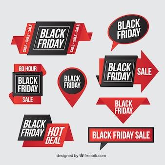 Coleção adesivos preto sexta-feira com boas ofertas