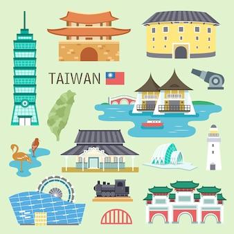 Coleção adorável de atrações de taiwan