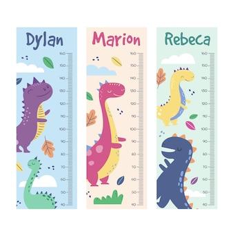 Coleção adorável de medidores de altura