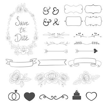Coleção ajustada do ornamento do casamento para a decoração do cartão do convite.