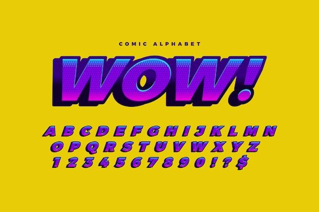 Coleção alfabeto 3d em quadrinhos