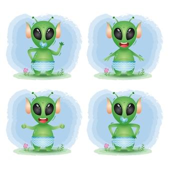 Coleção alienígena bebê fofo