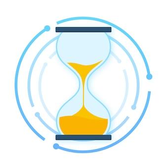 Coleção ampulheta. ampulheta timer areia como contagem regressiva. ilustração em vetor das ações.