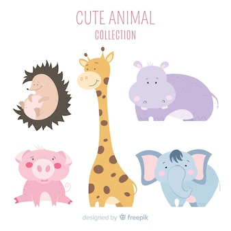 Coleção animal amigável e fofa
