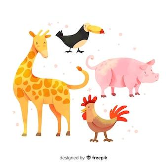Coleção animal bonita com girafa