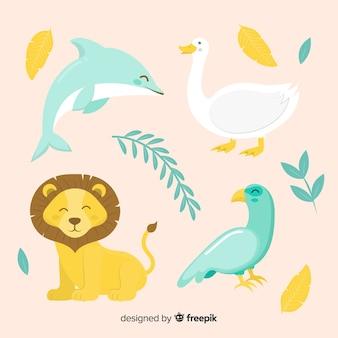 Coleção animal bonita com leão, golfinho e pássaros