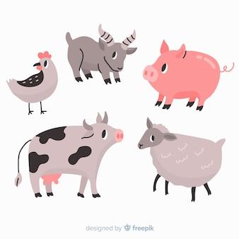 Coleção animal bonita com porco e vaca