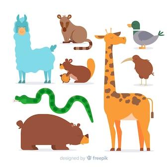 Coleção animal bonito dos desenhos animados
