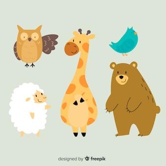 Coleção animal de animais selvagens de ilustração dos desenhos animados