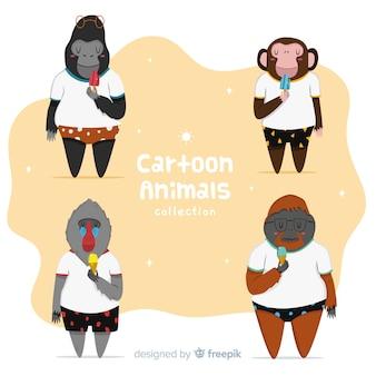 Coleção animal dos desenhos animados da selva