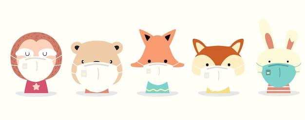 Coleção animal fofa com máscara de uso de preguiça, coelho, raposa, esquilo.