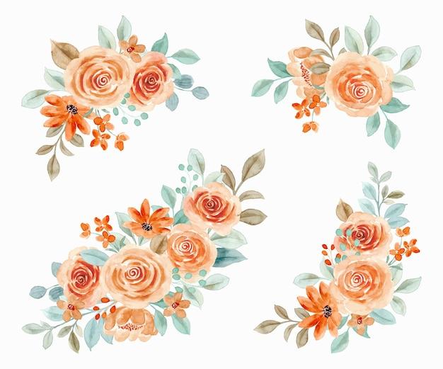 Coleção aquarela bouquet floral