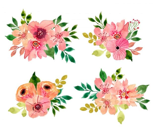 Coleção aquarela buquê floral