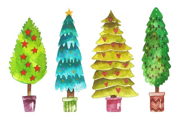 Coleção aquarela da árvore de natal