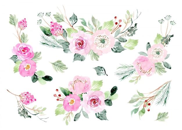 Coleção aquarela de arranjo floral rosa