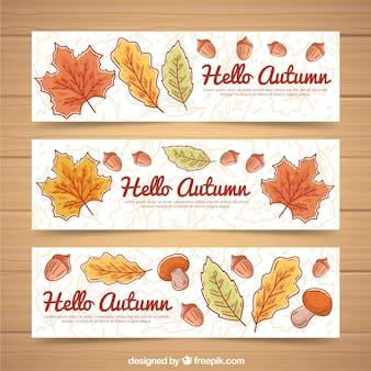 Coleção aquarela de banners de outono