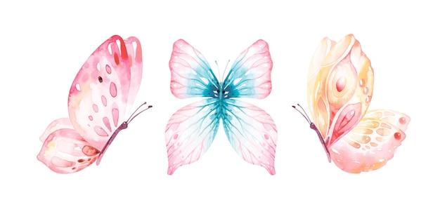 Coleção aquarela de borboletas voando.