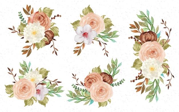 Coleção aquarela de bouquet floral outono