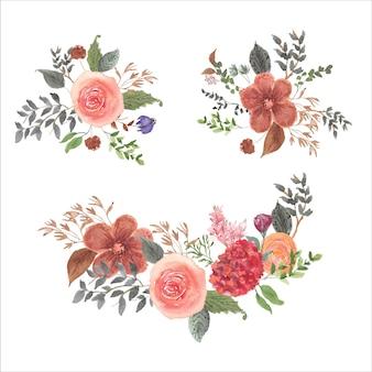 Coleção aquarela de buquê de flores coloridas retrô
