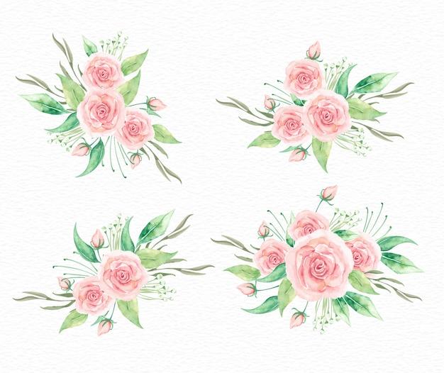 Coleção aquarela de buquê de flores rosas