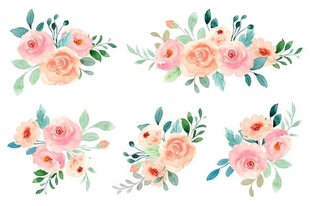 Coleção aquarela de buquê de rosas