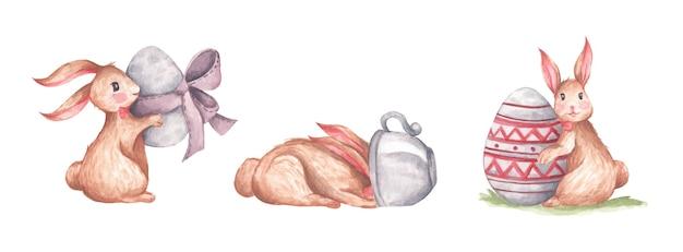 Coleção aquarela de coelhinho da páscoa e ovo com espaço de cópia