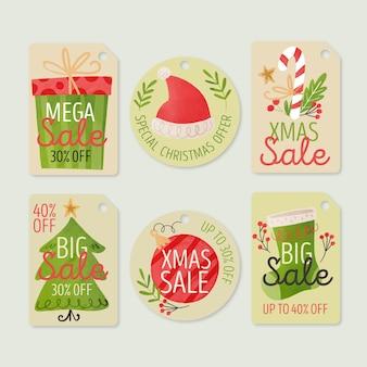 Coleção aquarela de etiquetas de venda de natal