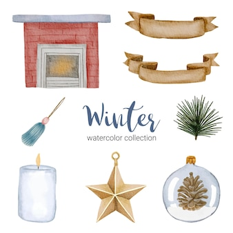 Coleção aquarela de inverno com itens para uso doméstico.