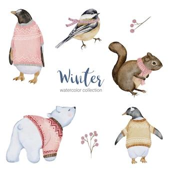 Coleção aquarela de inverno com pinguim, esquilo, urso branco e pássaro