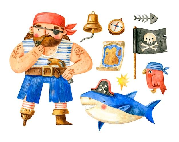 Coleção aquarela de piratas com pirata, tubarão, papagaio, bandeira, bússola, sino