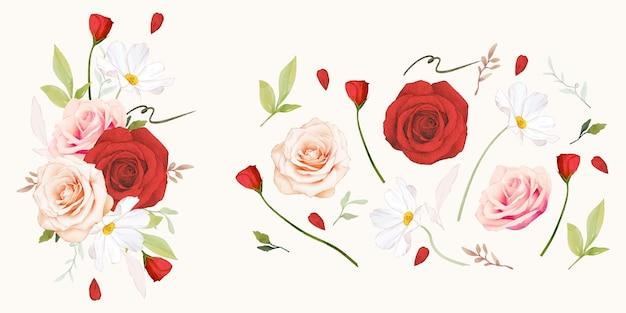 Coleção aquarela de rosas vermelhas