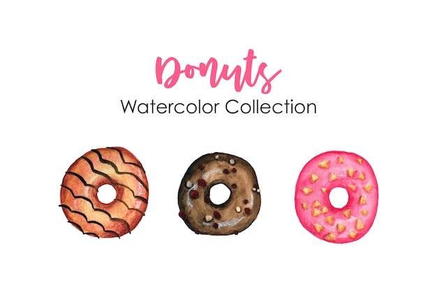 Coleção aquarela donuts