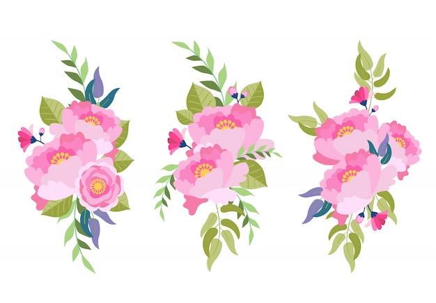 Coleção aquarela ilustração floral