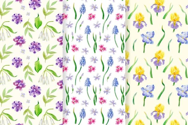 Coleção aquarela primavera padrão
