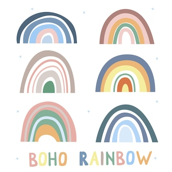 Coleção arco-íris no estilo boho