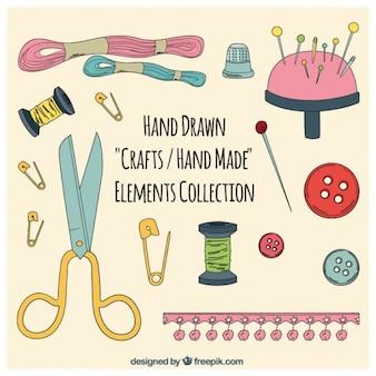 Coleção artesanato elementos, desenhado mão