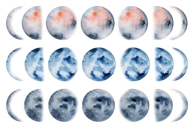 Coleção artística de fases da lua em aquarela