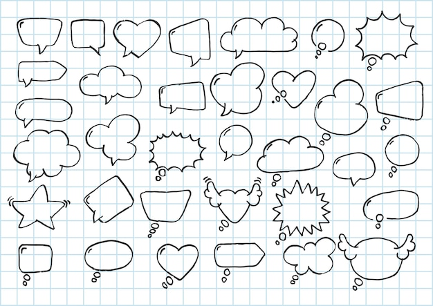 Coleção artística de mão desenhada doodle balão em quadrinhos de estilo