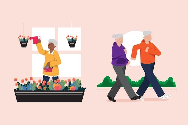 Coleção ativa de pessoas idosas