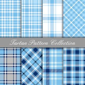 Coleção azul bebê de padrões de guingão tartan